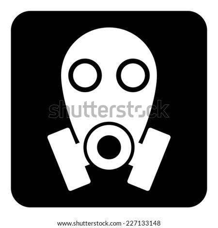 Gas mask symbol button on white background. Vector illustration. - stock vector