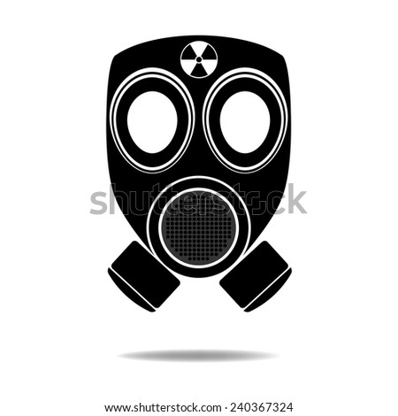 Gas Mask with Radioactive symbol - stock vector