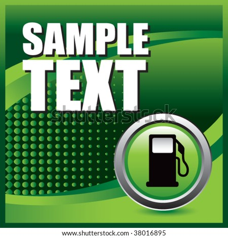 gas or fuel icon on green halftone banner template - stock vector
