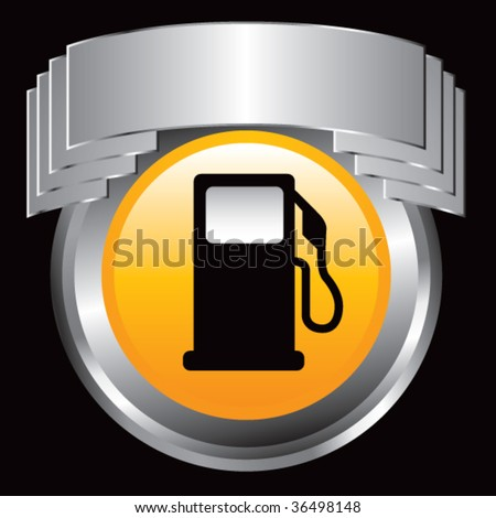 gas or fuel icon on silver web announcement - stock vector