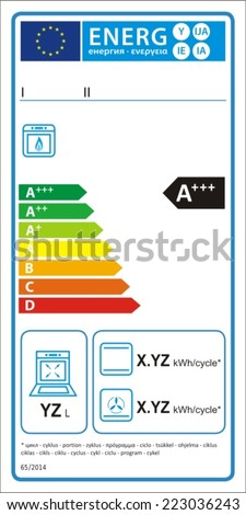 Gas oven new energy rating graph label in vector.