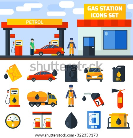 Gas petroleum diesel fuel service station banner and icons set composition poster flat abstract isolated vector illustration - stock vector