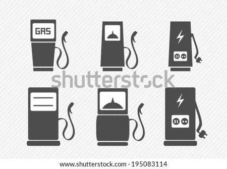 Gas pump and electric vehicle charging station icons set - stock vector