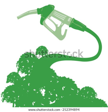 Gas pump attached to forest - stock vector