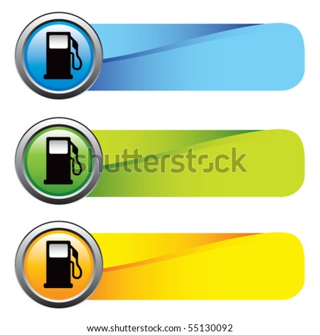 gas pump icon colored tabs - stock vector