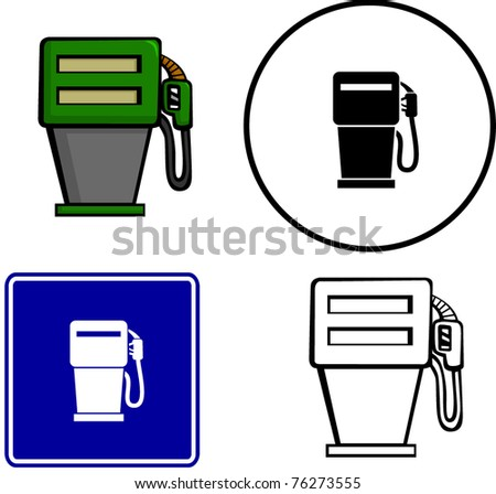 gas pump illustration sign and symbol - stock vector
