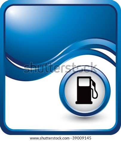gas pump on blue wave backdrop - stock vector
