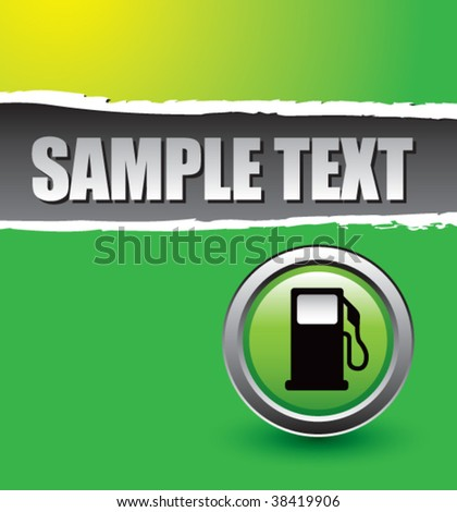 gas pump on green ripped banner - stock vector