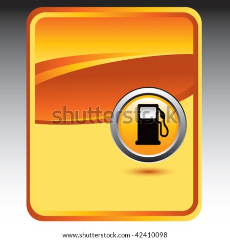gas pump orange background - stock vector