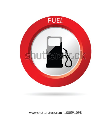 gas pump red icon vector illustration - stock vector