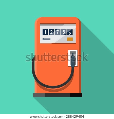 Gas Pump .Vector Flat Icon - stock vector