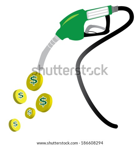 Gas pump  with big of dollar. Vector illustration
