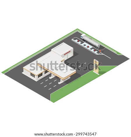 Gas station and car wash service isometric icons set vector graphic illustration