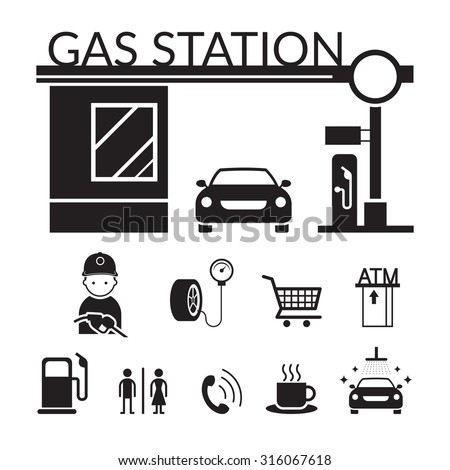 Gas Station and Service Objects icons Set, Black and white, Silhouette, Mini Mart, Toilet, Car Wash, ATM