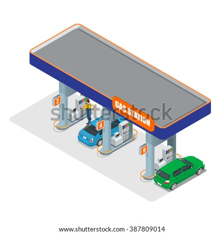 Gas station 3d isometric. Gas station concept. Gas station flat vector illustration. Fuel pump, car, shop, oil station, gasoline. Gas station EPS.  Refilling cleaning shopping service.  - stock vector