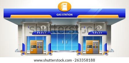 Gas station. Detailed vector illustration eps 10. - stock vector