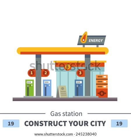 Gas station. Energy. Set of elements for construction of urban and village landscapes. Vector flat illustration - stock vector