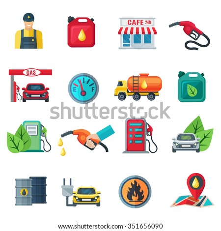 Gas station flat color icons set of canister tanker gun cafe employee column with pump isolated vector illustration  - stock vector