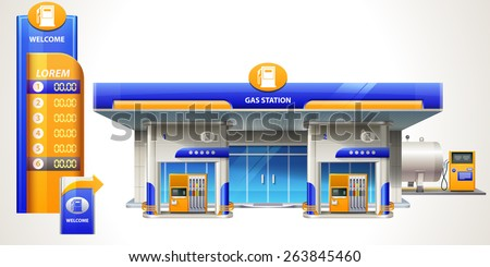 Gas station. Front view. Detailed vector illustration eps 10.