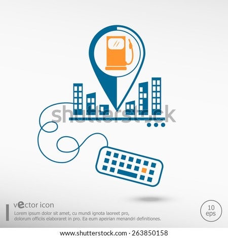 Gas station icon and keyboard. Line icons for application development on city background - stock vector