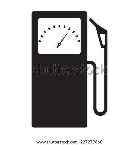Gas station icon or sign. Black symbol isolated on white background. Vector illustration. - stock vector