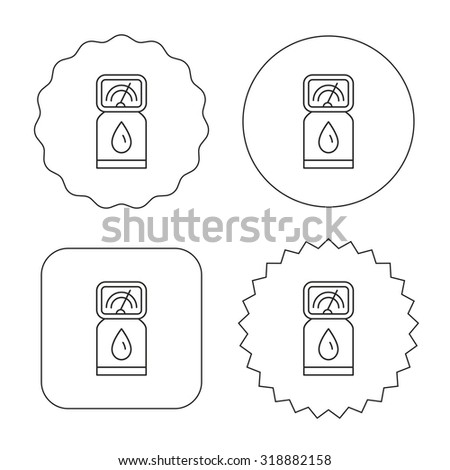 Gas station icon. Petrol fuel pump sign. Flat circle, star and emblem buttons. Labels design. Vector - stock vector
