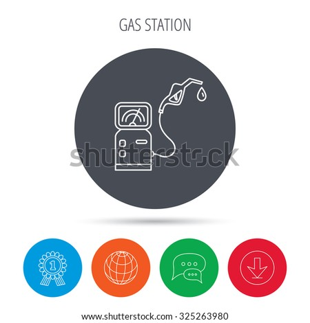 Gas station icon. Petrol fuel pump sign. Globe, download and speech bubble buttons. Winner award symbol. Vector - stock vector