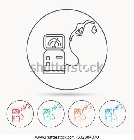 Gas station icon. Petrol fuel pump sign. Linear circle icons. - stock vector
