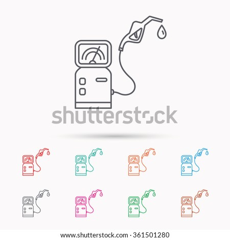 Gas station icon. Petrol fuel pump sign. Linear icons on white background. - stock vector