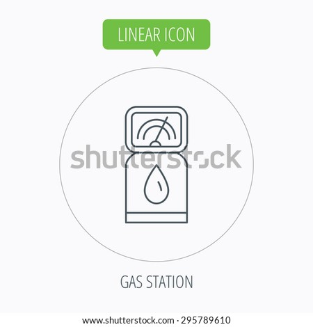 Gas station icon. Petrol fuel pump sign. Linear outline circle button. Vector - stock vector