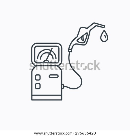Gas station icon. Petrol fuel pump sign. Linear outline icon on white background. Vector - stock vector