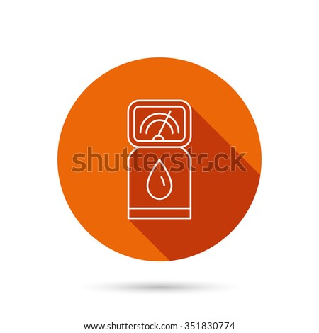 Gas station icon. Petrol fuel pump sign. Round orange web button with shadow. - stock vector