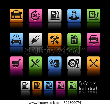Gas Station Icons // ColorBox Series ---- The Vector file includes 5 color versions for each icon in different layers -- - stock vector