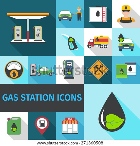Gas station icons flat set with fuel pump eco petroleum symbol isolated vector illustration - stock vector