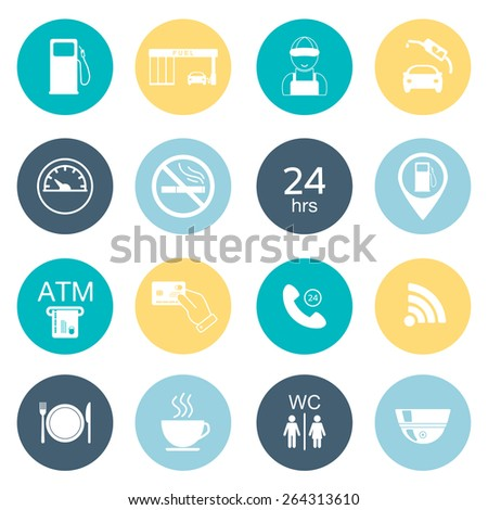 Gas station icons. Fuel glyph icons. Flat color. Vector illustration - stock vector