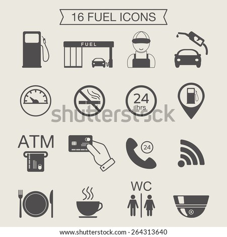 Gas station icons. Fuel icons. Monochrome. Vector illustration - stock vector