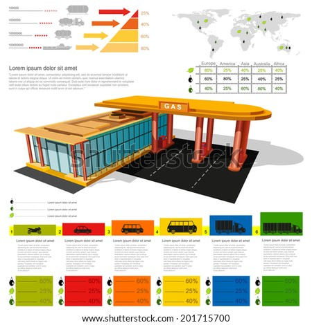 gas station infographic realistic gas station with abstract diagrams and transport - stock vector