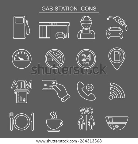 Gas station line icons. Isolated. Vector illustration - stock vector