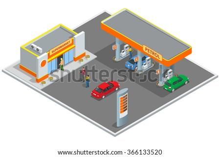 Gas station, petrol station. Refilling, shopping service. Refill station cars and customers. Business icon, Infographics design web elements vector isometric illustration - stock vector
