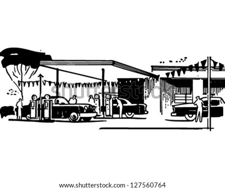 Gas Station - Retro Clipart Illustration - stock vector