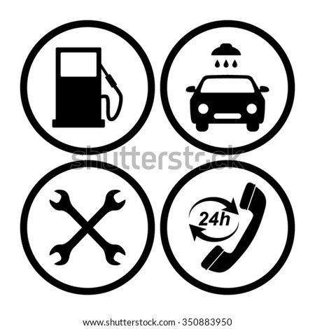 stock vector gas station service icons set 350883950 95 ford thunderbird stereo wiring diagram 95 find image about,1985 Ford Ranger Radio Wiring Diagram