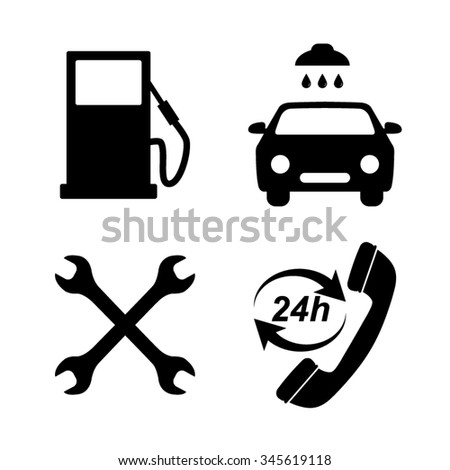 Gas station service - vector icons, set - stock vector