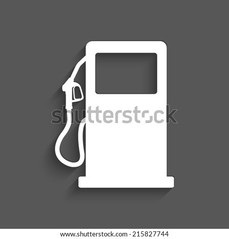 gas station sign with shadow on a grey background - stock vector