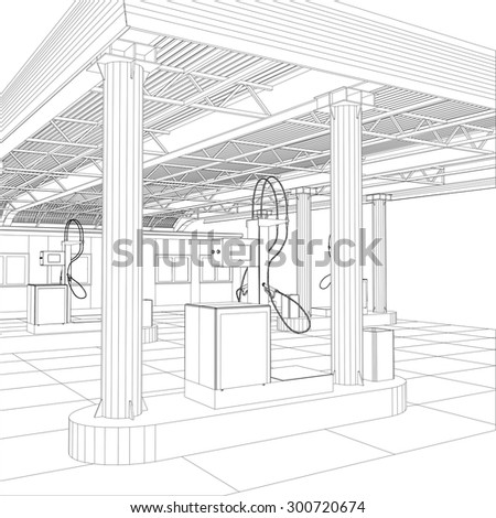 Gas station wire-frame line vector. Illustration created of 3d. EPS 10 vector format. - stock vector