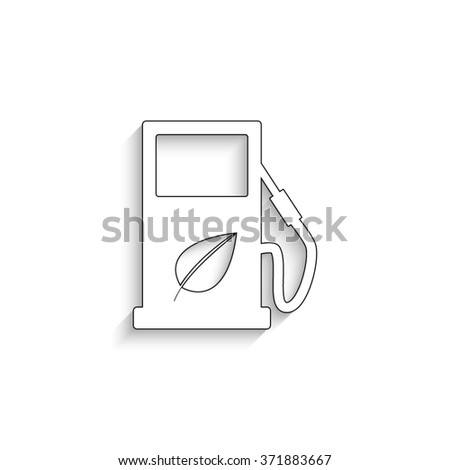 gas station with leaves - white vector icon with  shadow