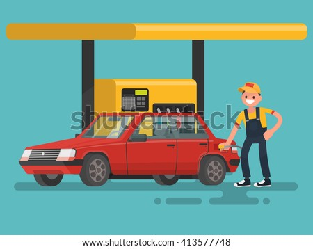 Gas station. Worker filling fills petrol into the car. - stock vector
