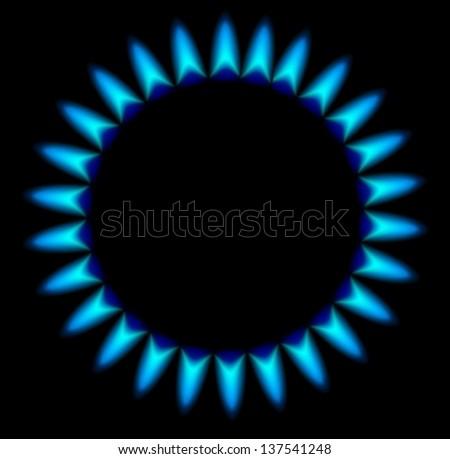 Gas stove burner illustration over dark, Vector - stock vector