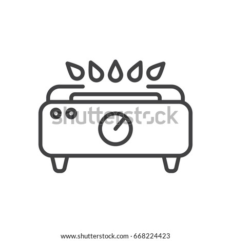 gas stove clipart black and white. gas stove line icon, outline vector sign, linear style pictogram isolated on white. clipart black and white