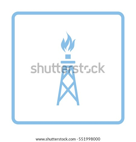 Gas tower icon. Blue frame design. Vector illustration.