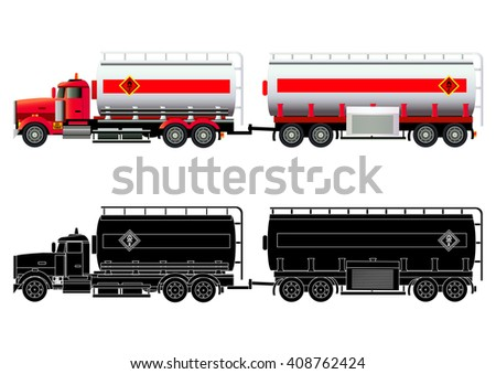 Gas transporter. LNG tanker truck. Vector illustration. Flat style. Silhouette. Icon. Isolated on white